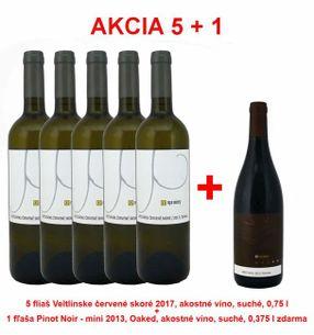 Action 5 + 1 REPA WINERY 5 bottles Veltlínske red early 2017, fine wine, dry, 0,75 l +1 bottle Pinot Noir - mini 2013, Oaked, quality wine, dry, 0,375