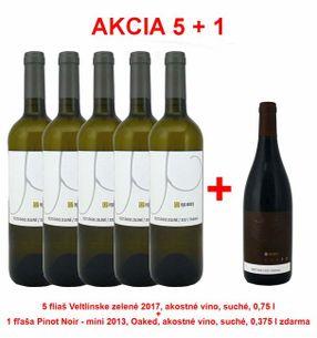 Action 5 + 1 REPA WINERY 5 bottles Veltlinské zelené 2017, quality wine, dry, 0,75 l +1 bottle Pinot Noir - mini 2013, Oaked, quality wine, dry, 0,375