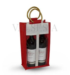 Gift red jute bag for 2 bottles