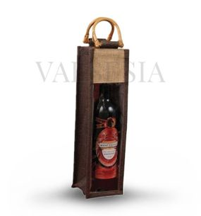 Gift brown jute bag for 1 bottle