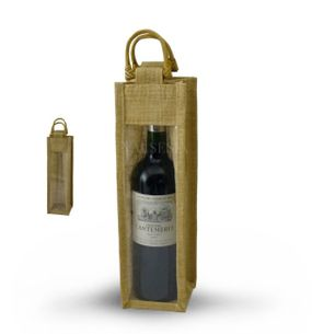 Gift jute bag for 1 bottle