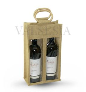 Gift jute bag for 2 bottles
