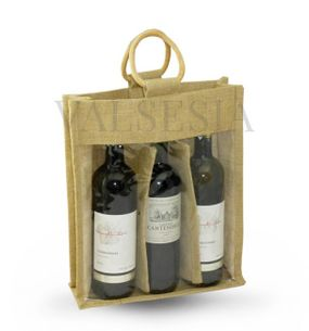 Gift jute bag for 3 bottles