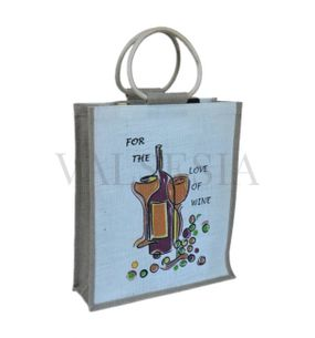 Gift jute bag for 3 bottles with a picture