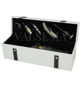 Gift packaging for 1 wine imitation white leather + 5 wine aids