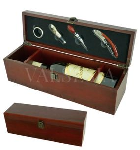 Gift wrapping for one wine mahogany + 4 winemaking equipment