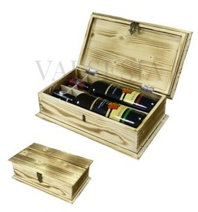 Wooden gift chest wine flamed 2 x 0.75 l