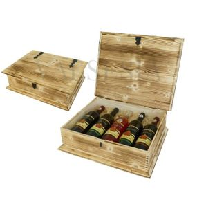 Wooden gift chest wine flamed 5 x 0.75 l