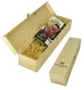 Wooden gift box with the logo of J & J Ostrožovič for 1 bottle