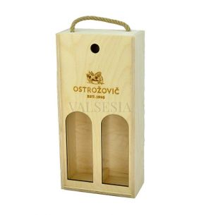 Wooden gift carrier with cutouts and logo J & J Ostrožovič for 2 bottles