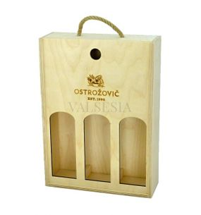 Wooden gift carrier with cutouts and logo J & J Ostrožovič for 3 bottles