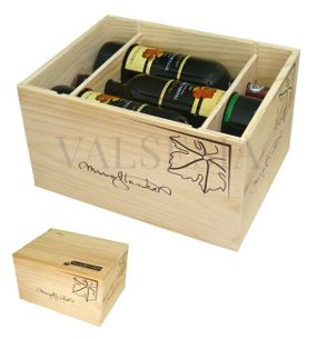 Gift packaging - wooden box Mrva & Stanko 6 x 0.75l