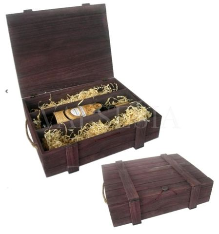 Wooden gift packaging for wine - brown 3 x 0.75 l